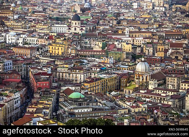 Views of Naples from Belvedere Di San Martino, Basilica of the Holy Spirit seen from, Naples city, Campania, Italy, Europe