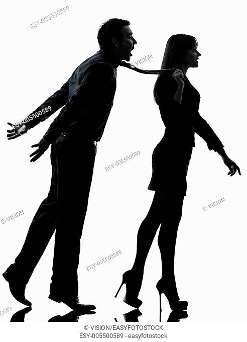 one caucasian couple woman seductress bonding concept in silhouette studio isolated on white background