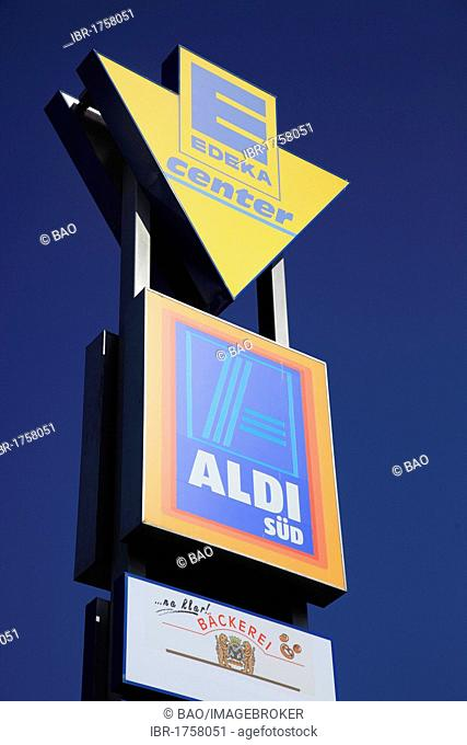 Advertising signs for Edeka and Aldi supermarkets