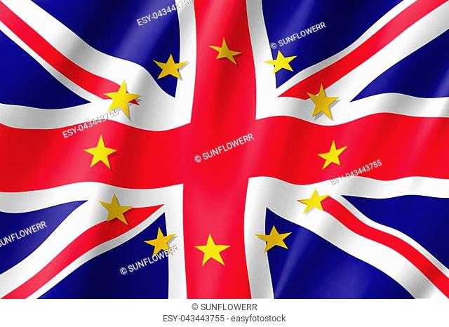 The United Kingdom national flag with a circle of European Union twelve gold stars, ideals of unity with EU, member since 1 January 1973