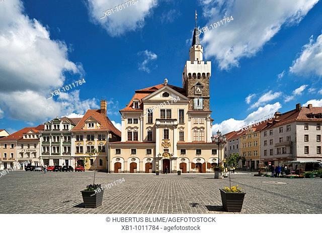 Marketplace and guildhall, build in the 14th century, Loebau, administrative district Goerlitz, Saxony, Germany