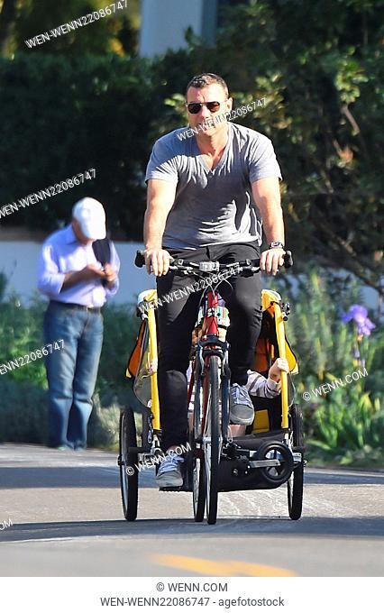 Liev Schreiber takes his boys to the market riding on their bikes and trailing a Burley Bee Bike Trailer Featuring: Samuel Kai Schreiber, Liev Schreiber