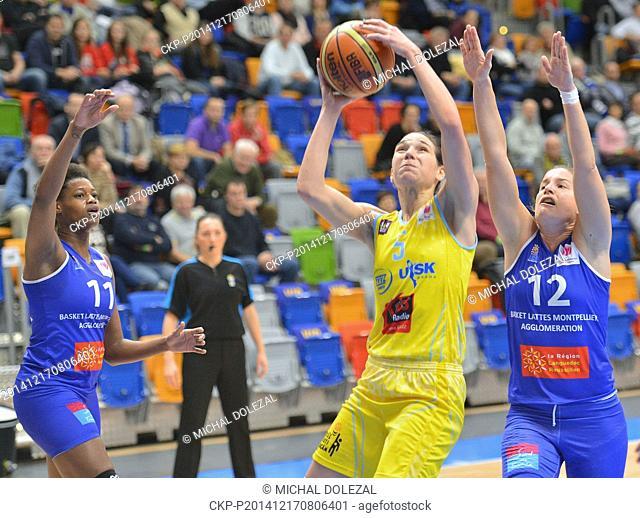 From left Valeriane Ayayi of Montpellier, Sonja Petrovicova of USK and Gaelle Skrela of Montpellier fight for ball during the Women's Basketball European League...