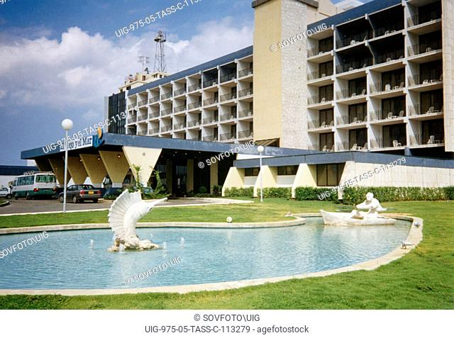 Cuba, 1996, popular tourist hotel el viejo y el mar ('the old man and the sea' named after ernest hemingway's famous book)