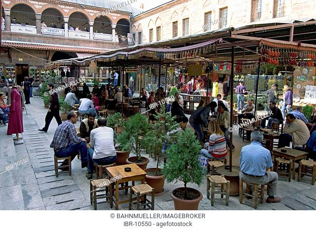 Turkey Izmir quarter Konak former caravansary caravanserai now bazaar inner courtyard