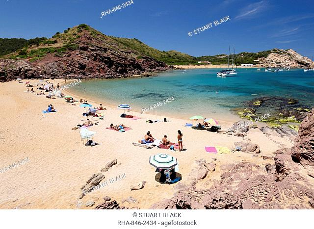 View over Cala Pregondo and Cala Pregonda, near Fornells, North Coast, Menorca, Balearic Islands, Spain, Mediterranean, Europe