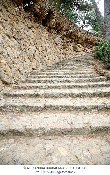 Steps on retaining wall at Park Guell, Barcelona, Spain
