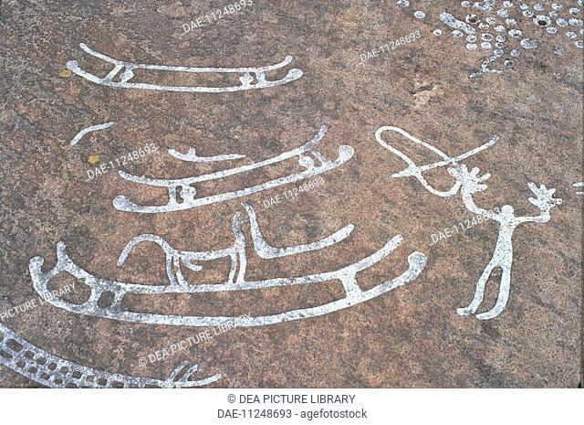 Sweden - Vastra Gotaland County - Litsleby. Rock carvings in Tanum or Tanumshede (UNESCO World Heritage List, 1994), Scandinavian Bronze Age