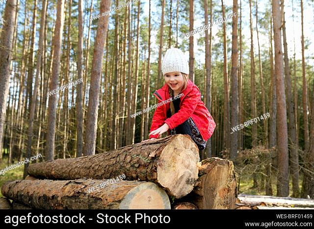 Portrait of happy little girl climbing on stack of wood in the forest