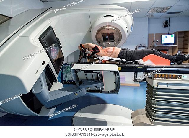 Reportage in the radiotherapy centre at the Baie walk-in clinic in Avranches, France. Breast cancer treatment