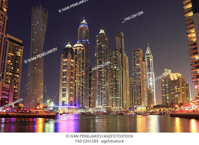 Dubai Marina at Night, United Arab Emirates