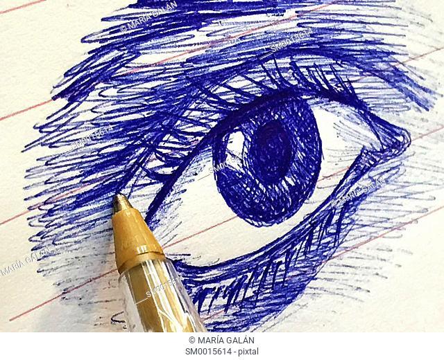 Pen drawing an eye. Close view