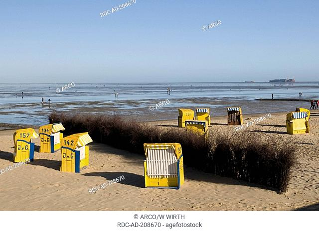 Beach, mudflat, Duhnen, Cuxhaven, Lower Saxony, Germany