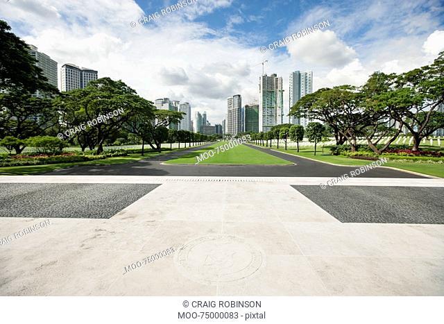 Manila American Cemetery and Memorial with cityscape, Manila, Philippines