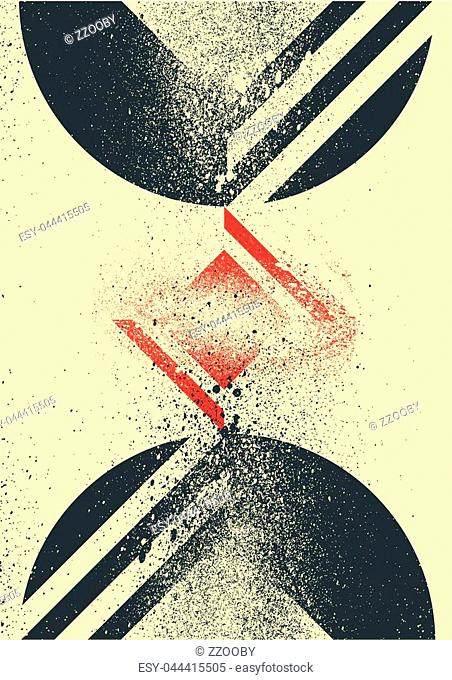 Abstract geometric form background with splash texture. Retro vector illustration