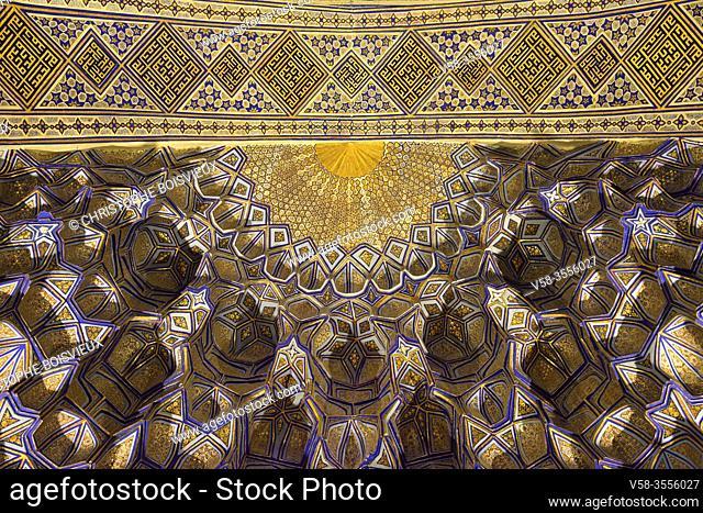 Uzbekistan, Unesco World Heritage Site, Samarkand, Gur-e-Amir mausoleum, Elaborately decorated muqarnas