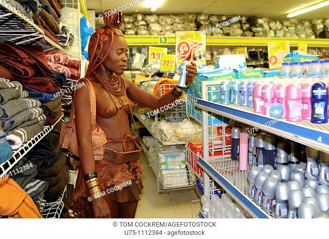 himba girl in supermarket, opuwo, namibia