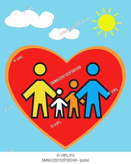 Family Standing in heart shape