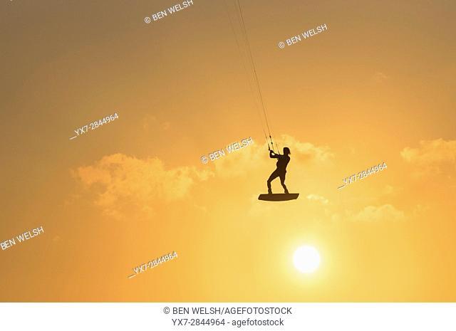 Kitesurfing action. Tarifa, Costa de la Luz, Cadiz, Andalusia, Spain