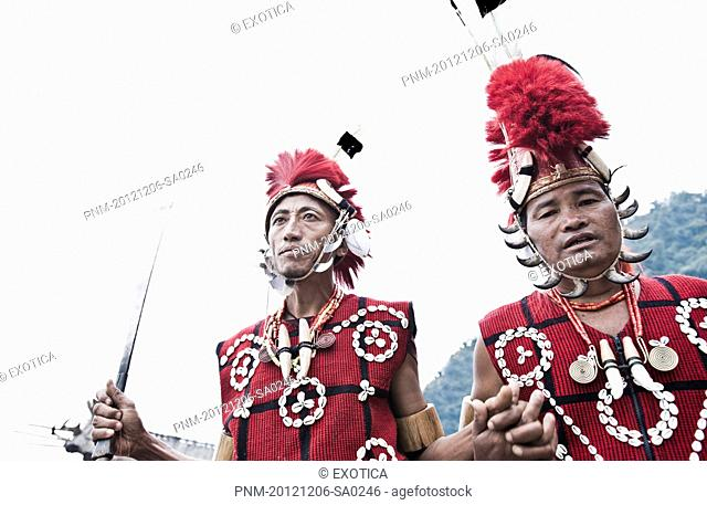 Naga tribal warriors in traditional outfit, Hornbill Festival, Kohima, Nagaland, India