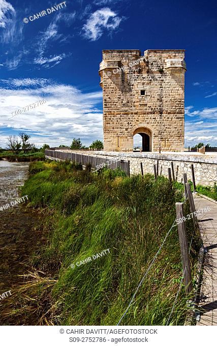 The 14th Century La Tour Carbonniere toll gate, Psalmody, Saint Laurent d'Aigouze, Languedoc Roussillon Midi Pyrenees, France