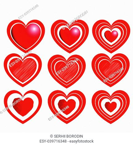 Heart set for Valentine days Red color with one two three path