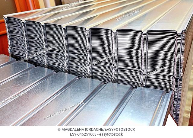 Stack of zinc steel coils in warehouse