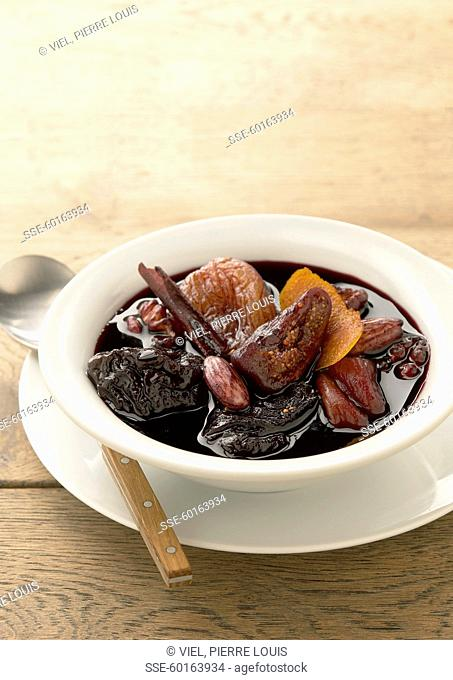 Dried fruit stewed in red wine with cinnamon