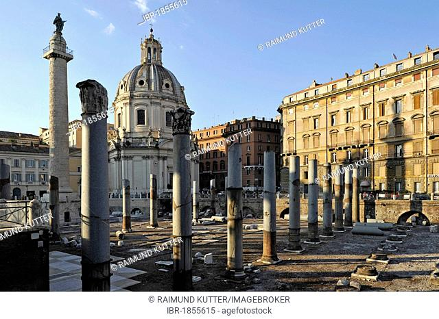 Trajan's Column, Columns of the Basilica Ulpia, church Santissimo Nome di Maria al Foro Traiano or Church of the Most Holy Name of Mary at the Trajan Forum