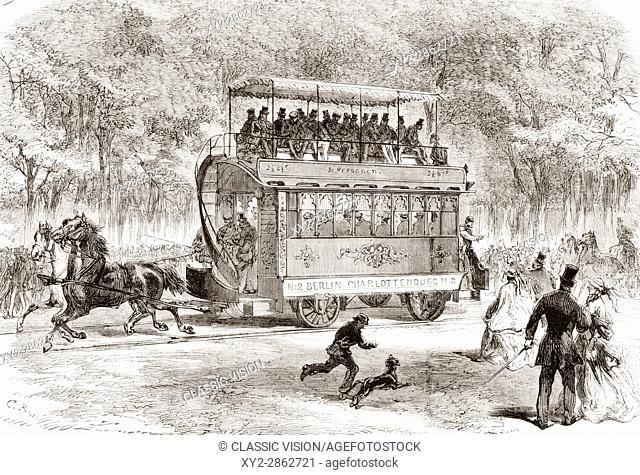 The first horse-bus or horse-drawn omnibus line from Brandenburger Tor, Berlin, Germany to Charlottenburg in 1825. From L'Univers Illustre published 1867