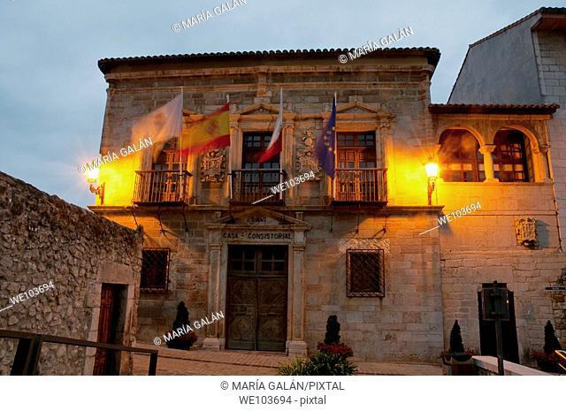 Facade of town hall at night. San Vicente de la Barquera, Cantabria province, Spain