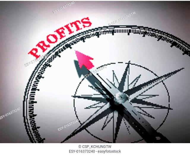 abstract compass needle pointing the word profits
