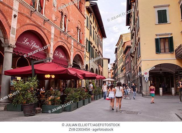 Borgo Stretto in the historic centre of Pisa, Italy