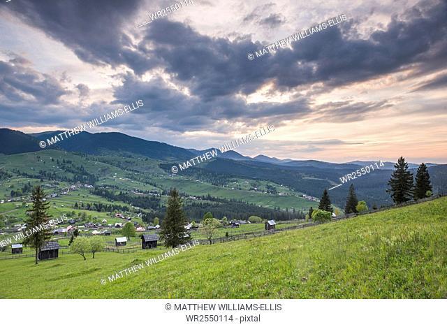 Bukovina Region (Bucovina) landscape at sunset, Paltinu, Romania, Europe