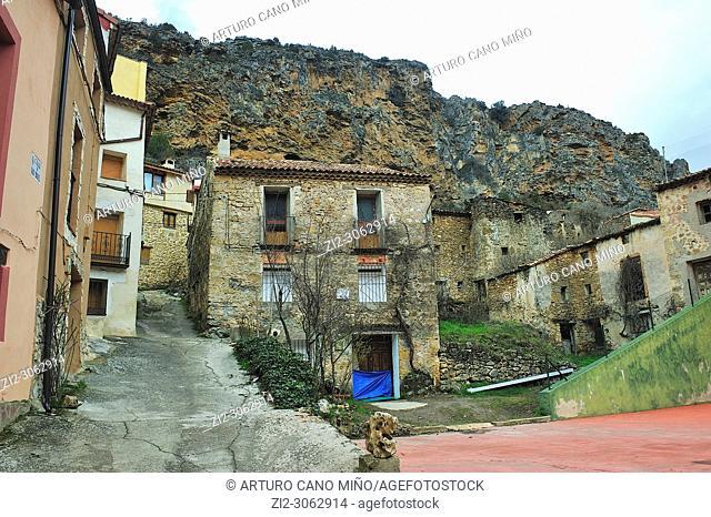 Traditional architecture. Huertapelayo town, Guadalajara province, Spain