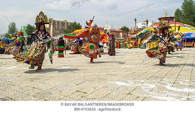 Traditional Tsam dance during a culture festival, Mongolia