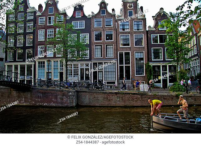 House facades at Amsterdam canal, Netherlands