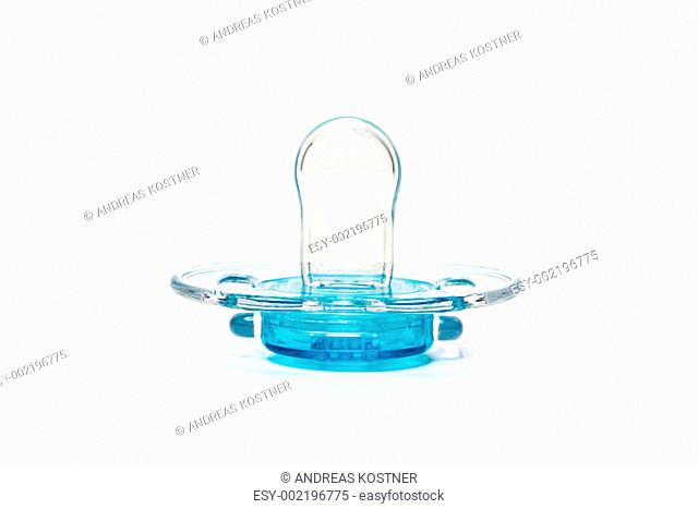 Clear blue pacifier isolated