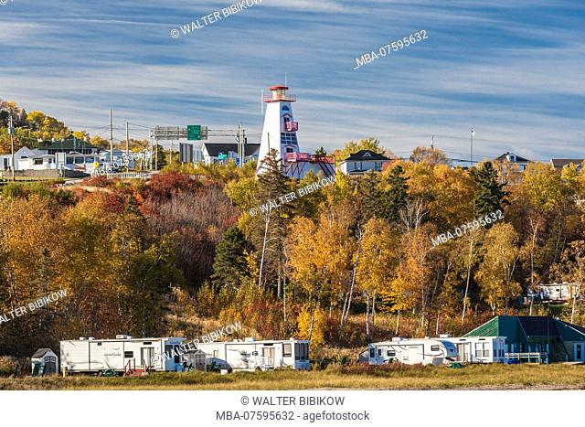 Canada, Quebec , Capitale-Nationale Region, Charlevoix, Saint Simeon, elevated town view, autumn