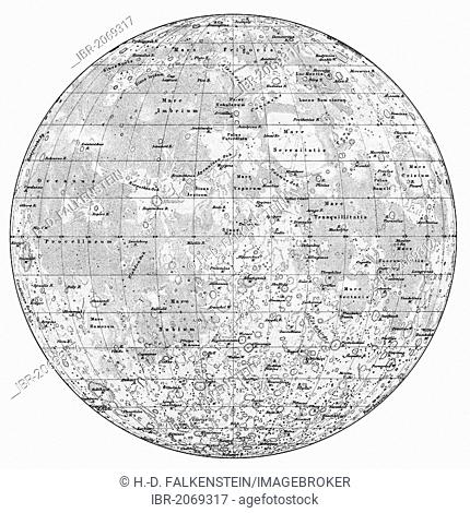 Historical map of the moon from Wilhelm Wolff Beer and Johann Heinrich Maedler, 19th century, from Meyers Konversations-Lexikon encyclopaedia, 1890