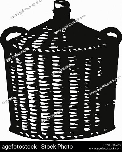 Wicker basket isolated on white vector illustration