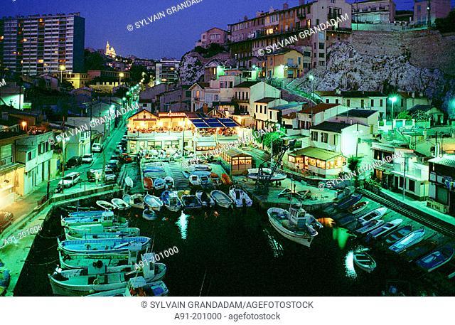 Vallon des Auffes at night. Marseille. France