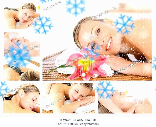 Composite image of collage of a young girl being massaged while relaxing