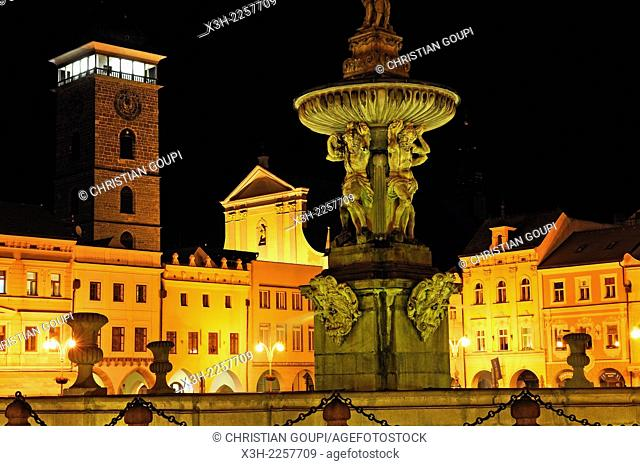 Baroque Samson fountain with the Black Tower in the background by night, Premysl Ottokar II Square, Ceske Budejovice, South Bohemian Region, Czech Republic
