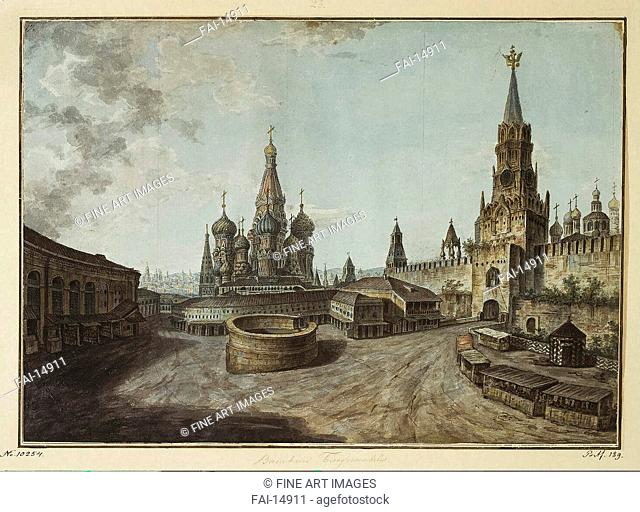 The Saint Basil's Cathedral and the Savior Gates. Alexeyev, Fyodor Yakovlevich (1753-1824). Watercolour and ink on paper. Classicism. 1800-1810