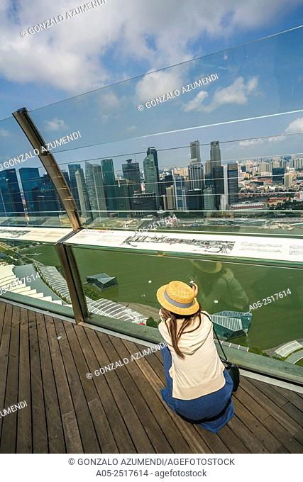 Marina Bay. View from Marina Bay Sands hotel. In the background Central Business District. City Skyline. Singapore. Asia