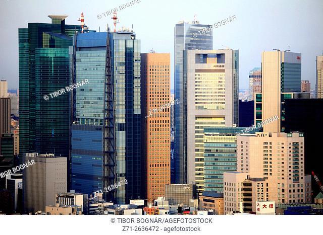 Japan, Tokyo, Shiodome area, skyline, aerial view, panorama,