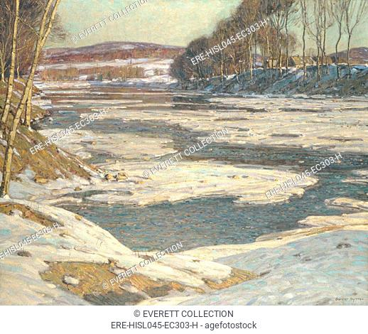 AN OPALESCENT RIVER, by George Gardner Symons, 1909, American painting, oil on canvas. Winter scene painted with impressionist color and paint application