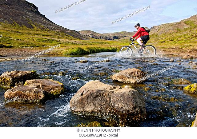 Young male mountain biker cycling through hot river, Reykjadalur valley, South West Iceland