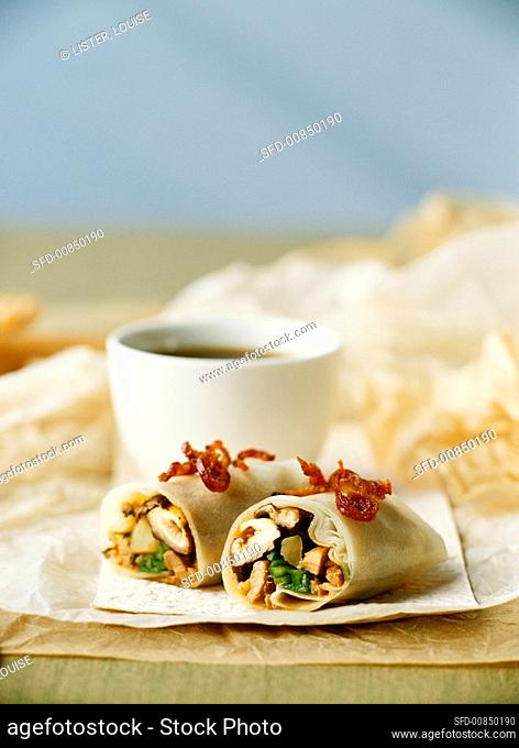 Spring roll with duck and shiitake filling